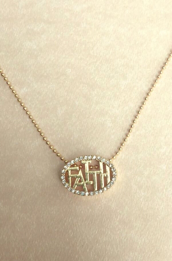 Image of Oval Faith Necklace Set
