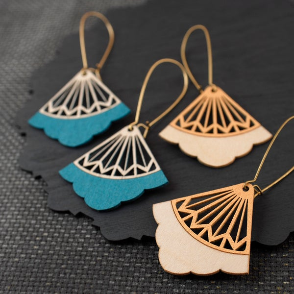 "Image of Discontinued Turquoise and Peach ""ORION"" Earrings"