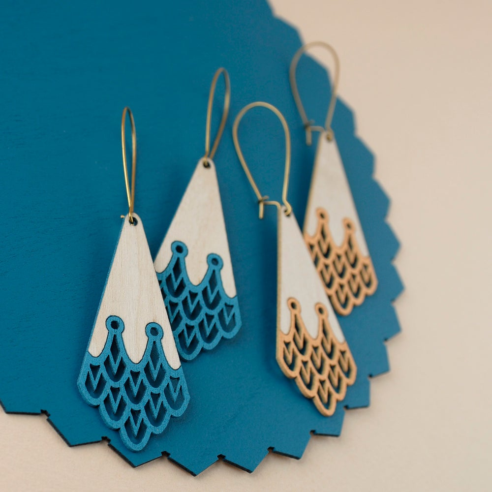 """Image of Discontinued Turquoise and Peach """"AQUILA"""" Earrings"""