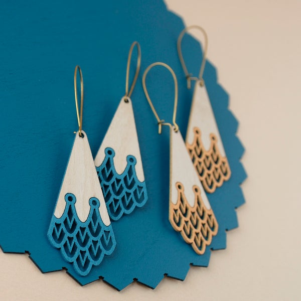 "Image of Discontinued Turquoise and Peach ""AQUILA"" Earrings"