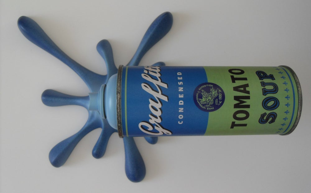 "Image of KRESIMIR BUDEN (2FAST) - GRAFFITI TOMATO SOUP ""SPLASH-IT"" SPRAY CAN SCULPTURE (BLUE & GREEN)"
