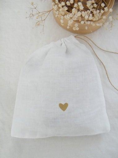 Image of Sac en lin blanc, motif coeur