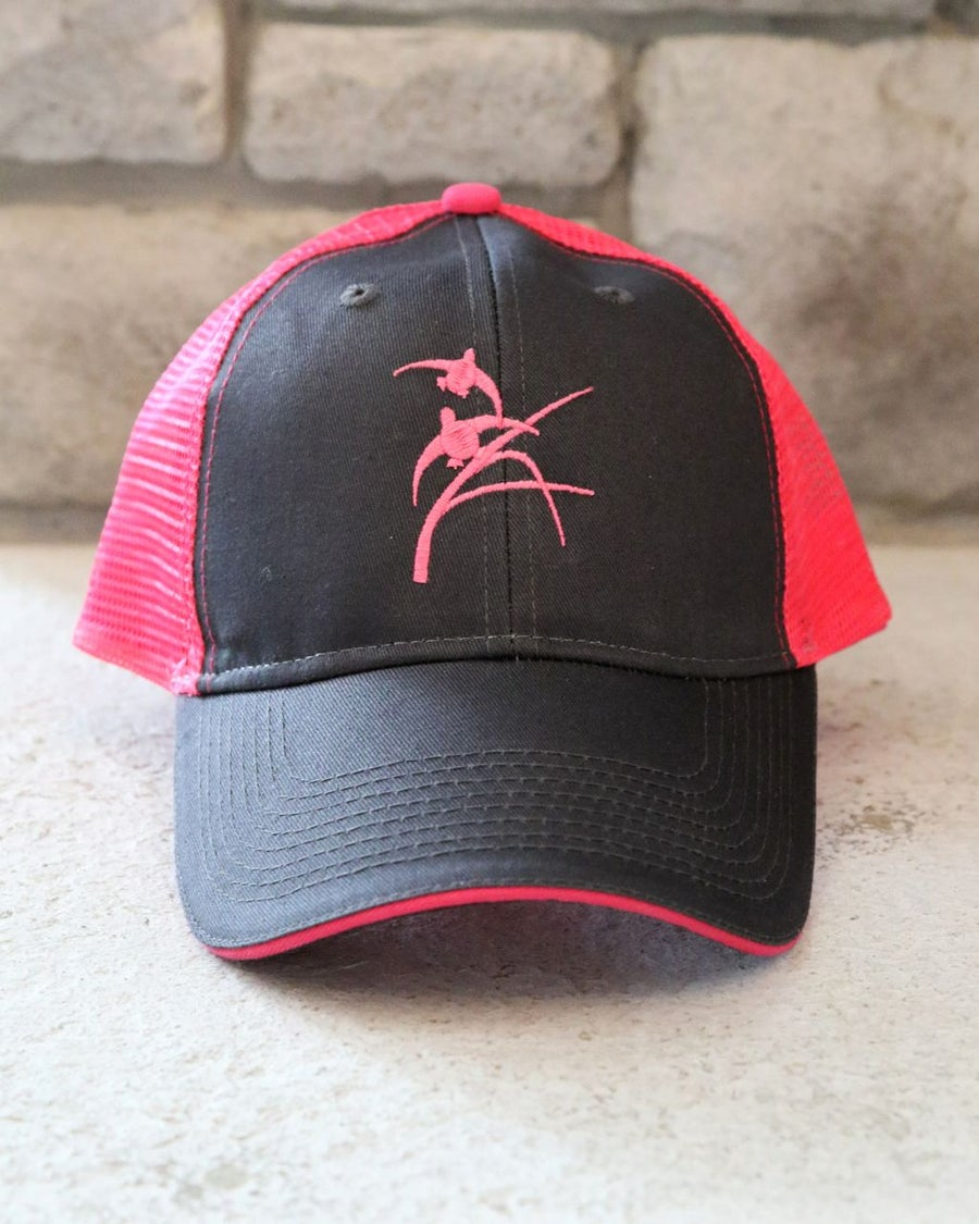Image of Charcoal & Hot Pink Trucker Hat