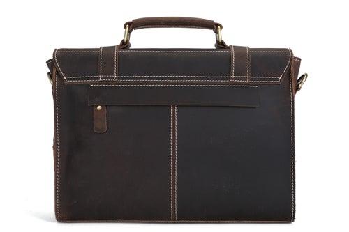 Image of Handmade Vintage Style Leather Briefcase Messenger Bag Satchel Bag Crossbody Shoulder Bag 12007