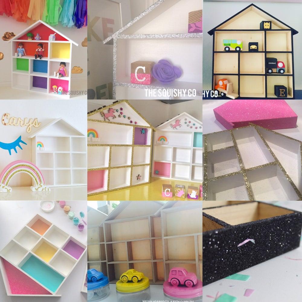 Image of House shelf displays - pastel, monochrome, rainbow, ,plain colour or glittered