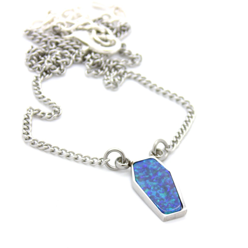 Image of Blue Green Opal Coffin Choker