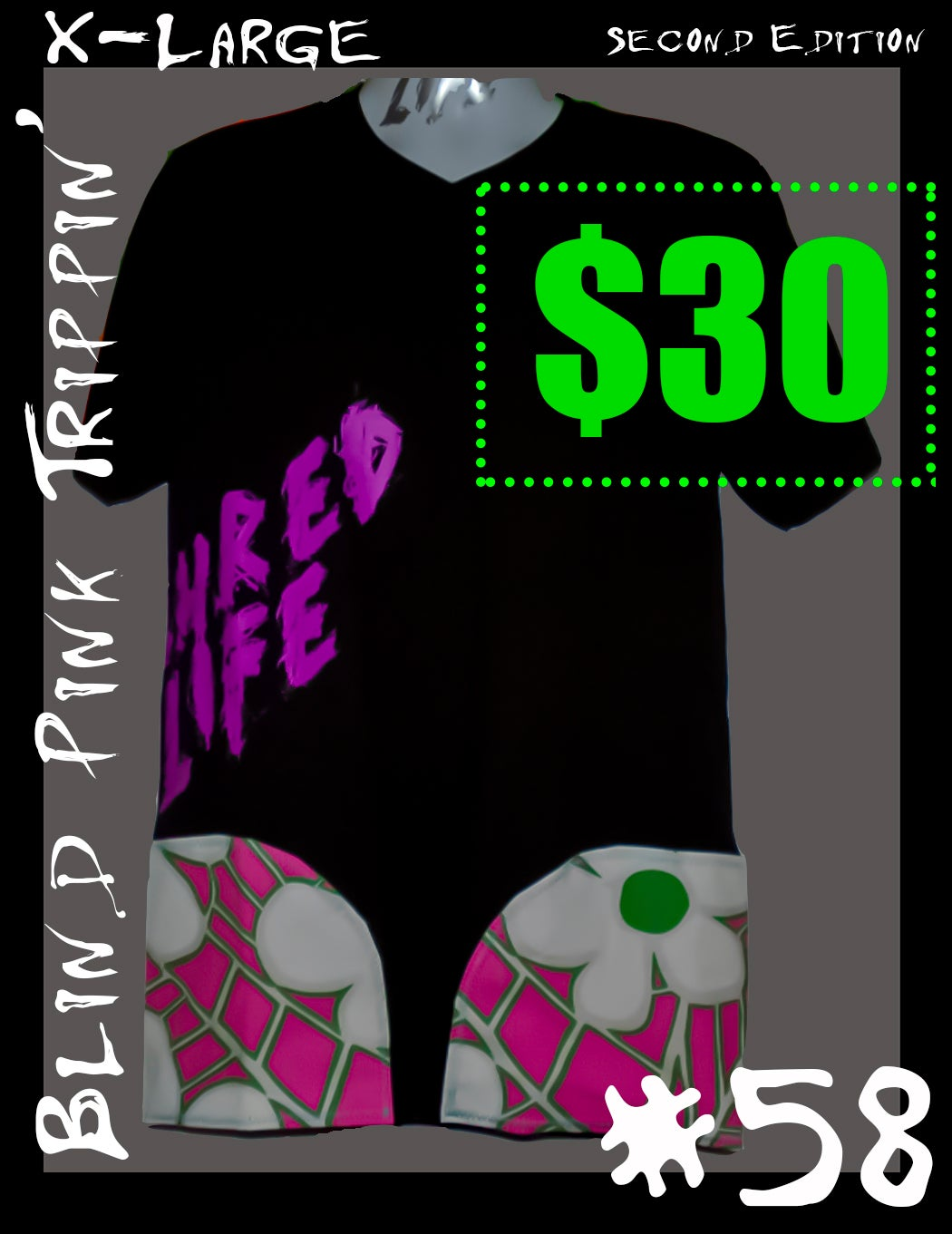 """Image of SHRED SHIRT #58 """"Blind Pink Trippin"""" (Size XL)"""