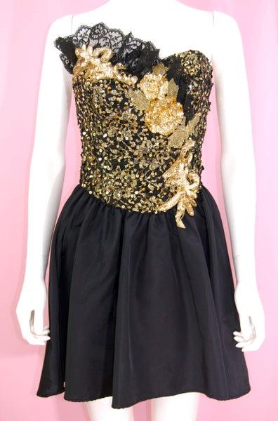 Image of VINTAGE 1980'S BLACK & GOLD SEQUINS PARTY DRESS
