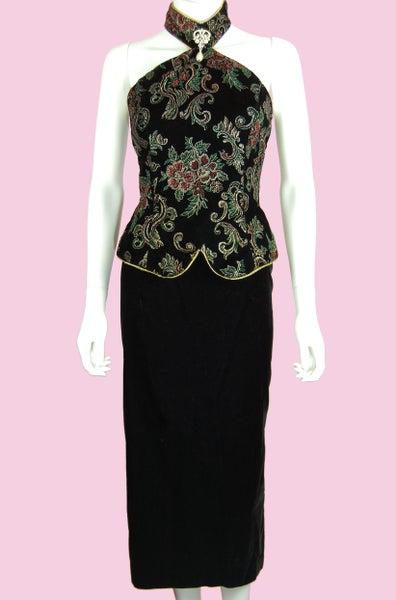 Image of VINATGE 90'S BURGUNDY VELVET HALTER DRESS