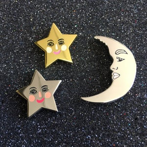 Image of Starface Enamel Pin in Gold or Silver