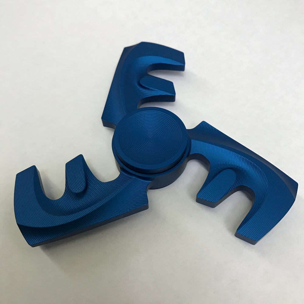 "Image of Aluminum ""Satin Blue"" Triple ""F"" Fidget Toy Spinner w/ Full Ceramic Bearing"