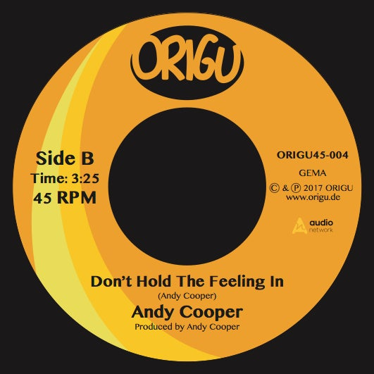 """Image of OUT NOW! 7"""" Andy Cooper: Action! b/w Don't Hold The Feeling In (ORIGU45-004)"""