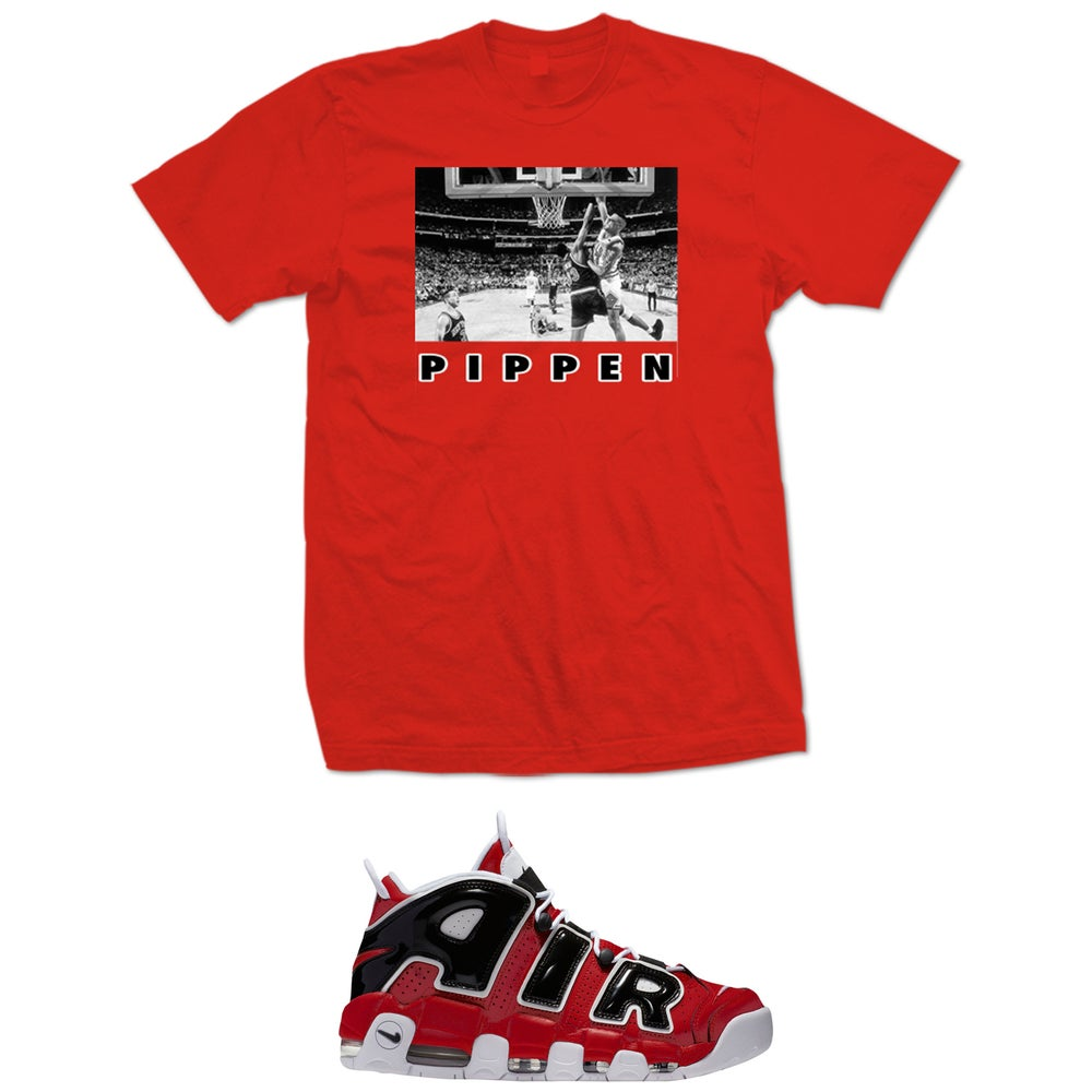 Image of PIPPEN OVER EWING AIR MORE BULLS UPTEMPO T SHIRT - RED