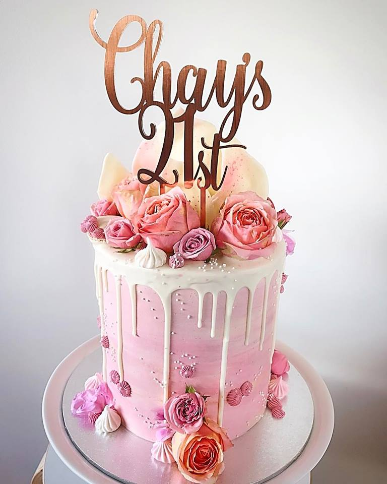 Image of Chay's 21st Custom Name & Age Swirl Birthday Cake Topper