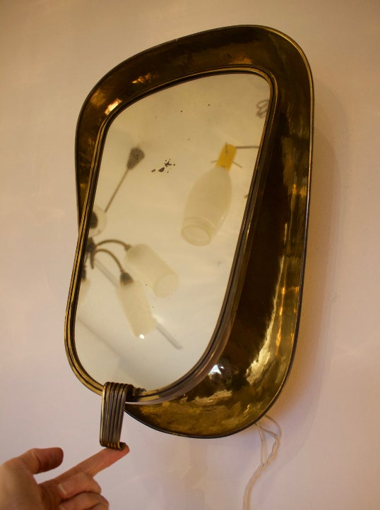 Image of Art Deco Backlit Brass Mirror
