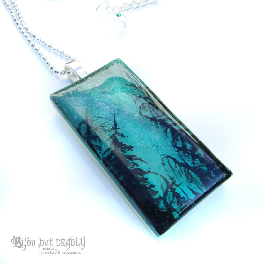 Image of Milky Way Resin Art Green Pendant
