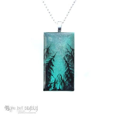 Image of Milky Way Resin Art Green Pendant
