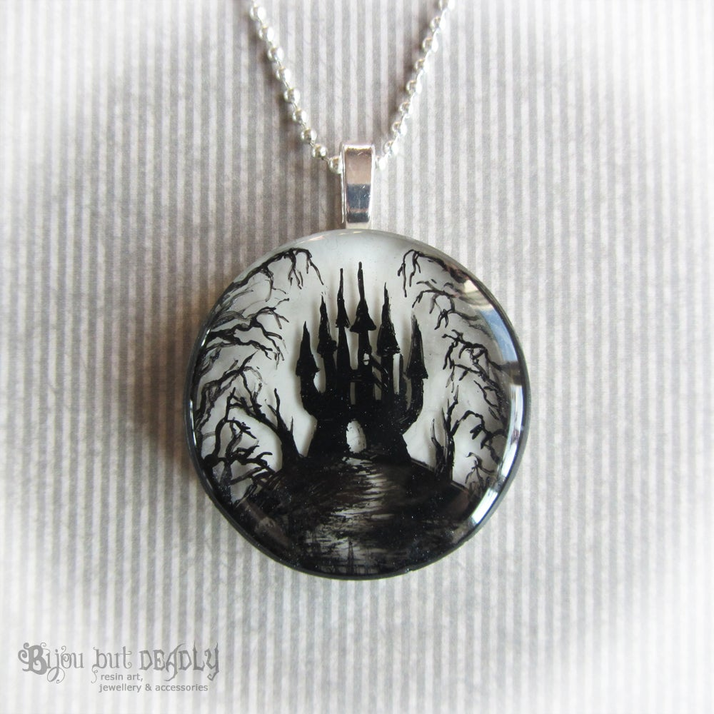 Image of Gloomy Wood Castle Round Pendant