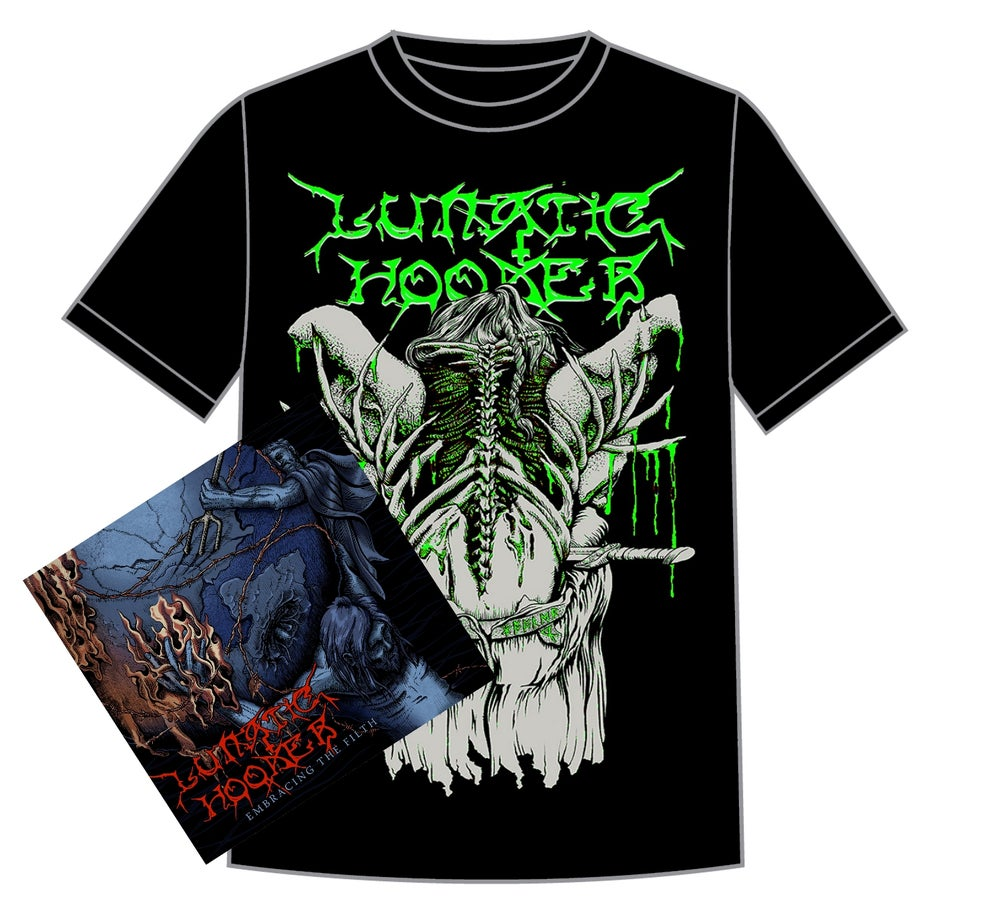 Image of 'Embracing The Filth' CD + a GREEN 'Blood Eagle' shirt