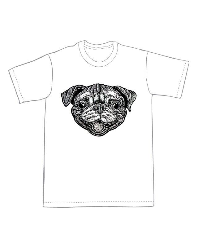 Image of Bob the Pug Head T-shirt **FREE SHIPPING**