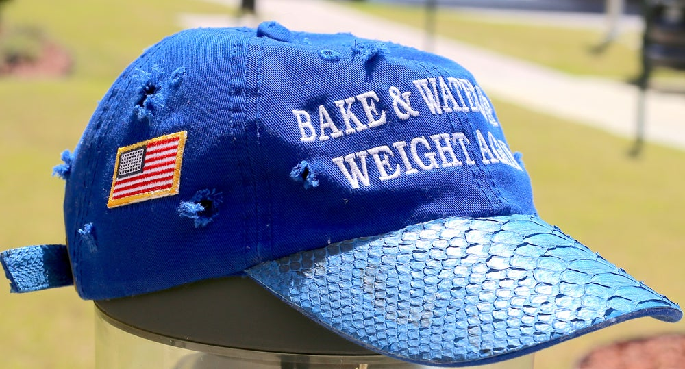 Image of (Limited Edition) Hand Distressed Blue Python Bake & Water Whip Weight Again Hat + CD