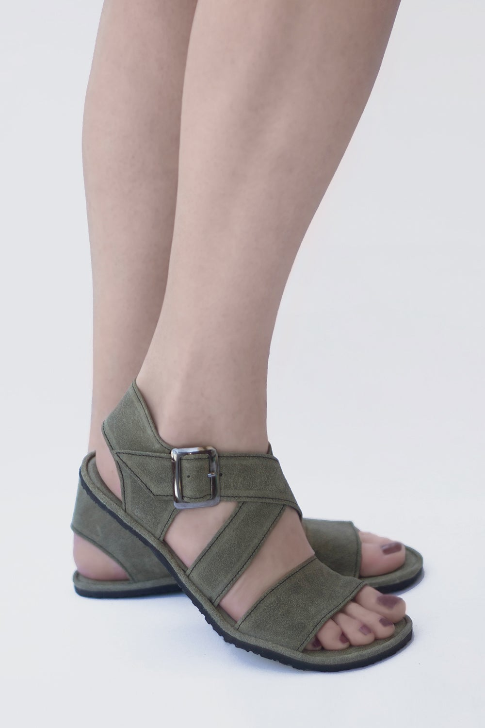 Image of Handmade Leather Sandals - Sandal X in Olive