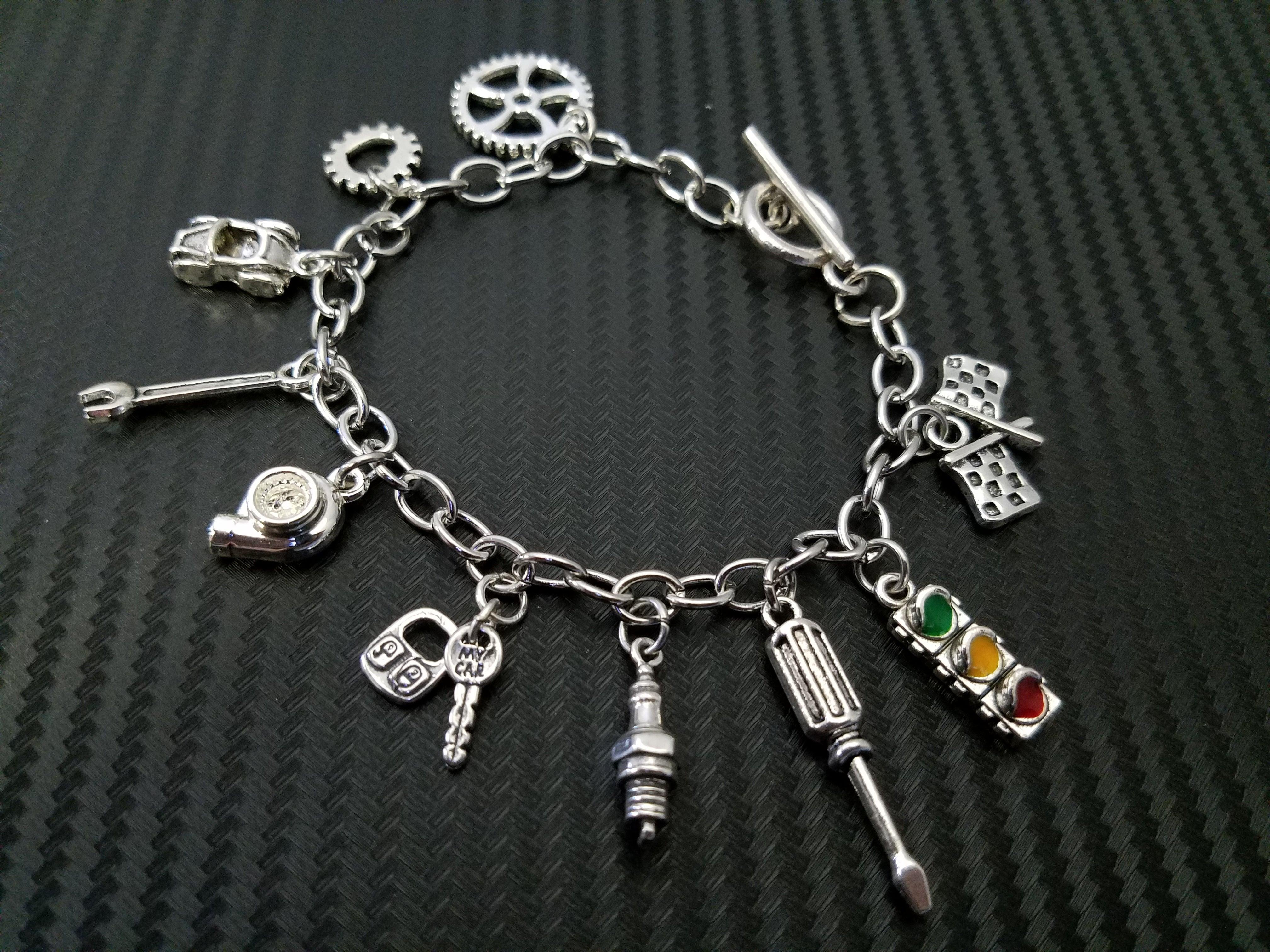 Car Part Charm Bracelets Garage Girls Jewelry