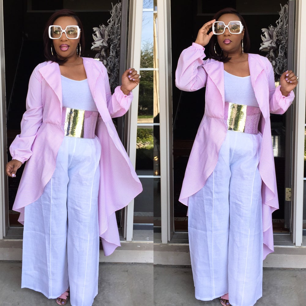 Image of Pink and white overdress $40 Luxe Linen Pants $65