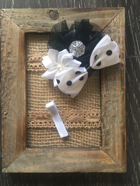 Image of Black lace & polka dot bows.