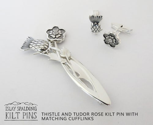 Image of Thistle and Rose Kilt Pin