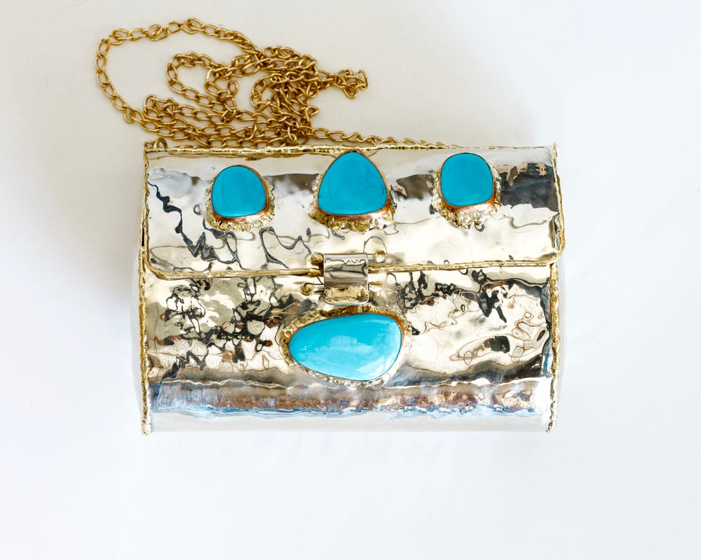 Image of Turquoise and Brass Clutch