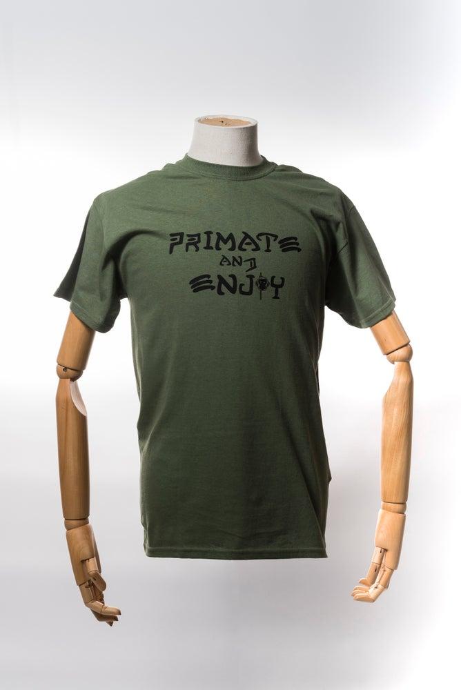 Image of Monkey Climber Primate and Enjoy shirt I Military Olive