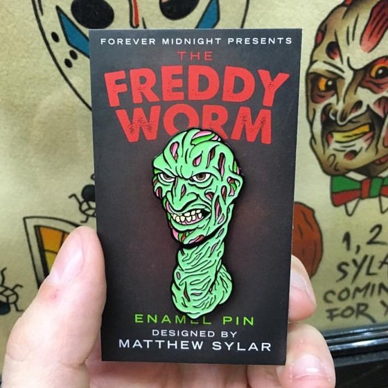 "Image of ""Freddy Worm"" enamel pin Pre-Order"