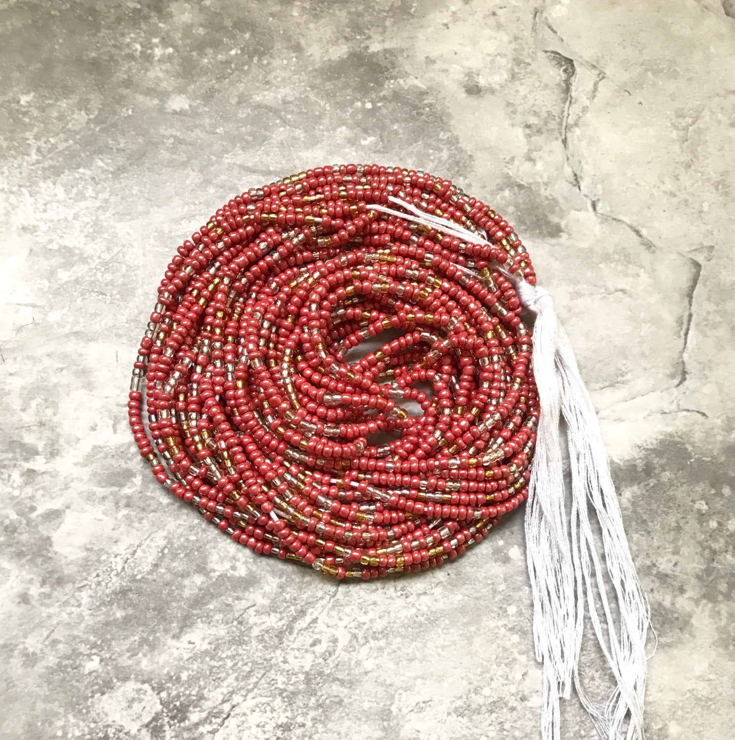 Image of Red tie waistbead