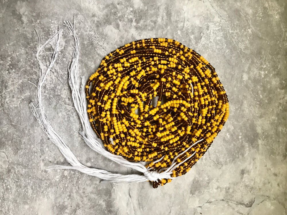 Image of Yellow and Brown tie waistbead