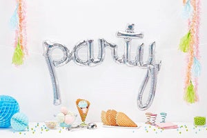 Image of Silver Holographic {Party} Script Balloon
