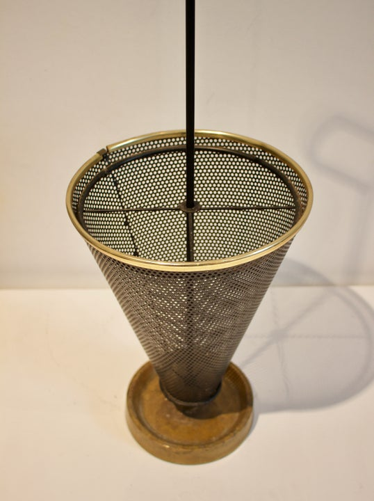 Image of Umbrella Stand of Perforated Metal & Brass