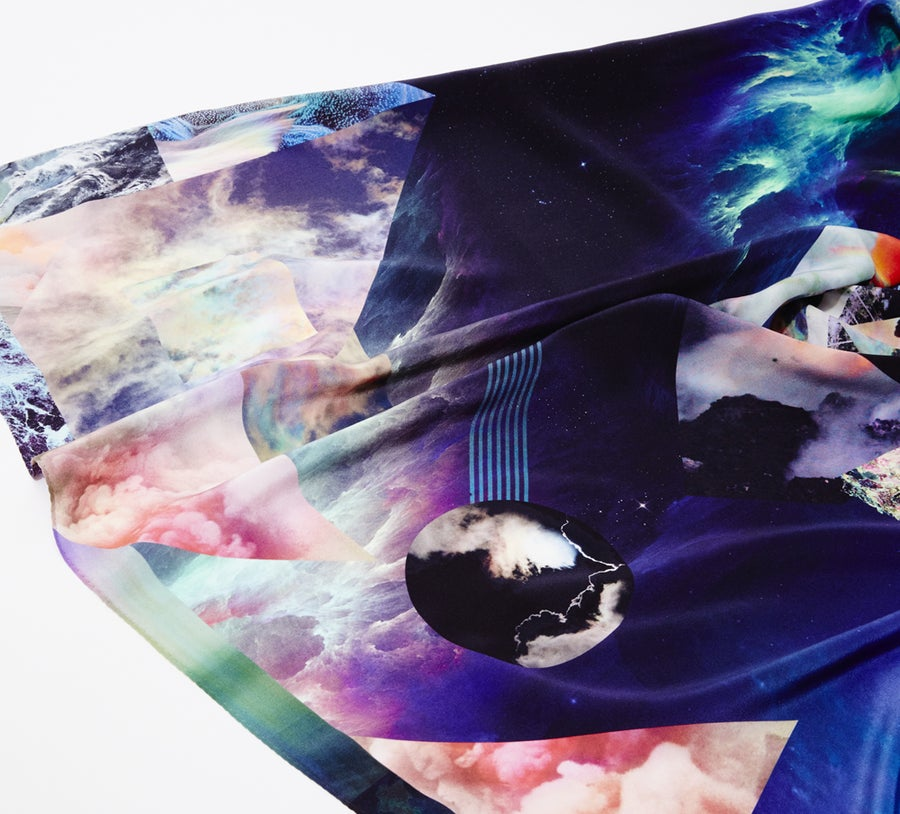 "Image of ""NOCTURNAL SWIM"" / SILK SCARF       90X90cm"