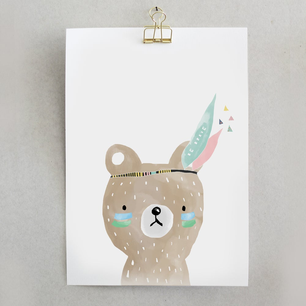 Image of ART PRINT LITTLE INDIAN BEAR X CANTÊ LISBOA
