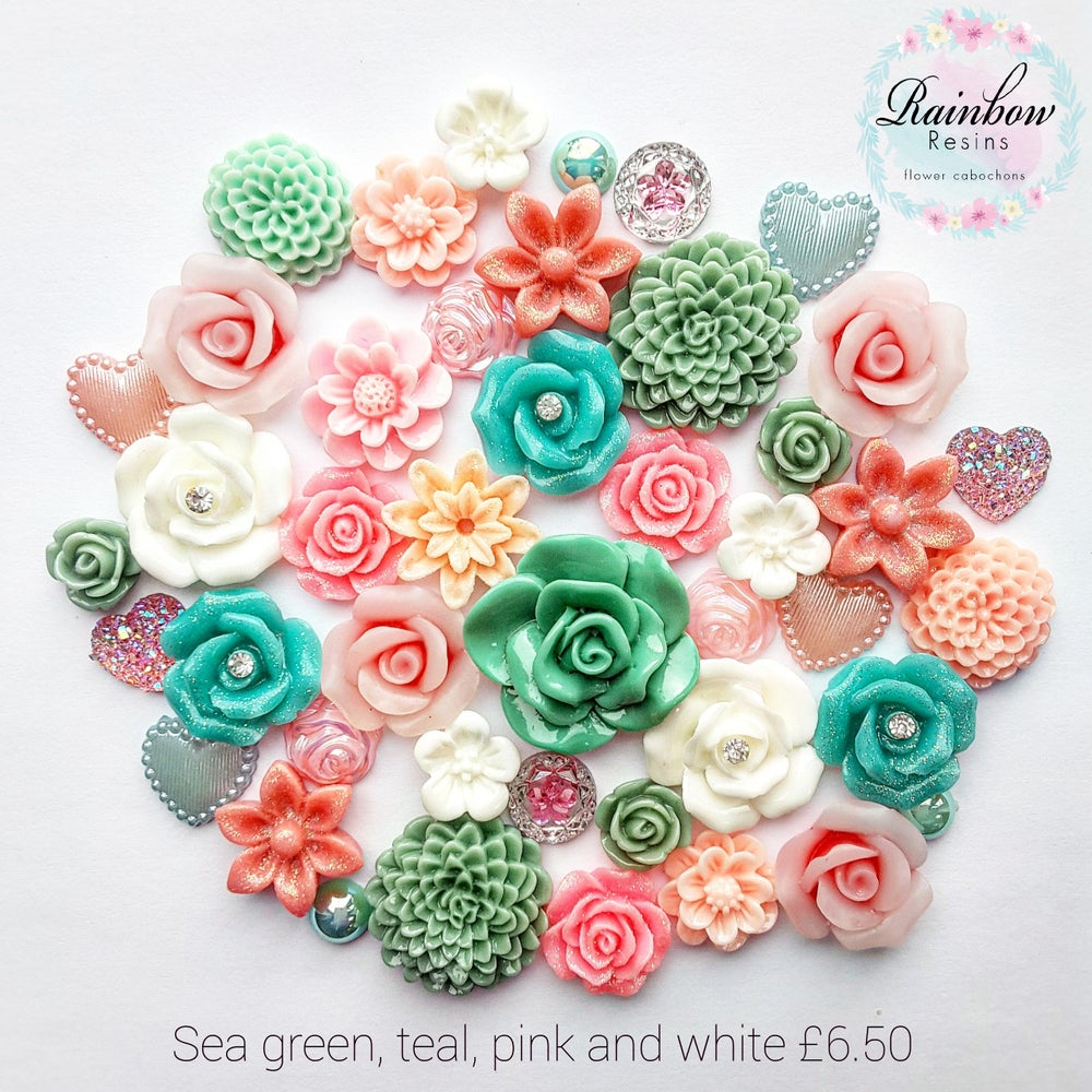 Image of Sea green, teal, pink and white