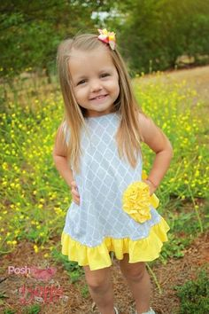 Image of Sweet Sunflower yellow and gray boutique swing top with ruffled bloomers, baby, toddler, summer,