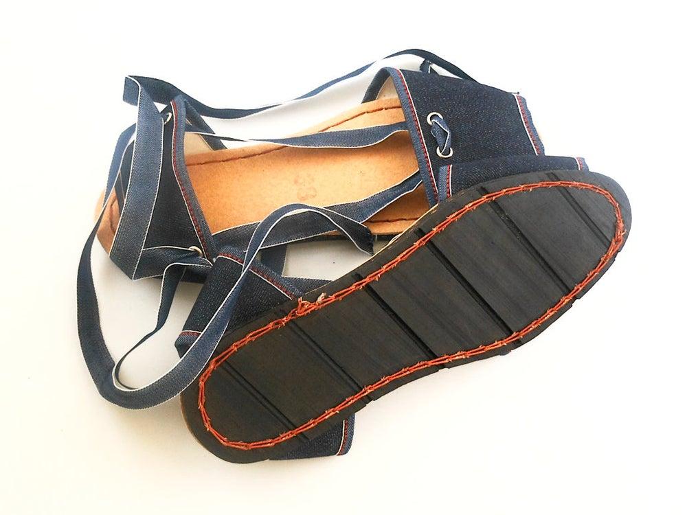 Image of Flat Albarca Espadrilles - A1V - Denim & Vegan - 36 to 41 EU sizes