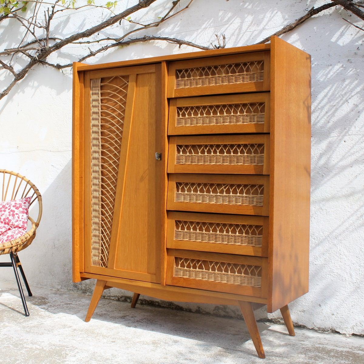 armoire commode en rotin 60 39 fibresendeco vannerie artisanale mobilier vintage. Black Bedroom Furniture Sets. Home Design Ideas