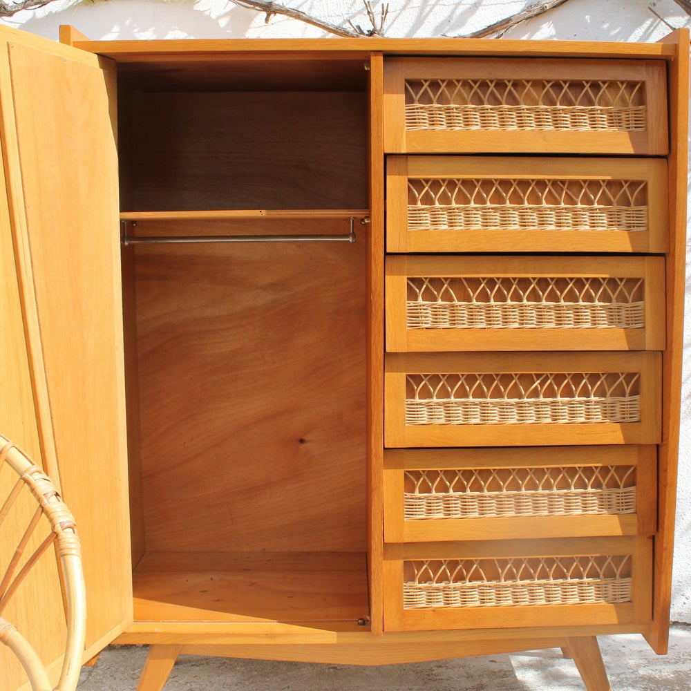 Image of Armoire commode en rotin 60'