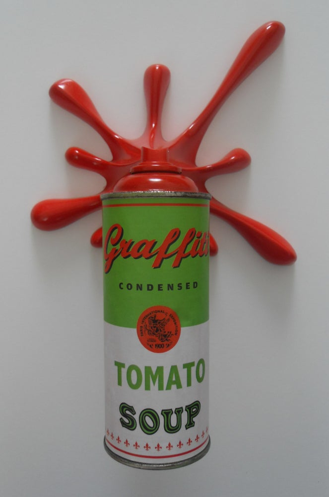 "Image of KRESIMIR BUDEN (2FAST) - GRAFFITI TOMATO SOUP ""SPLASH-IT"" SPRAY CAN SCULPTURE - ITALIA"