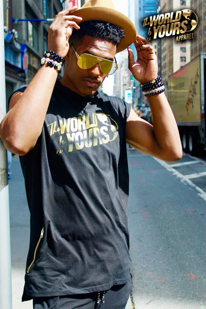 Image of TWIY APPAREL SLEEVELESS HOODIE BLACK&GOLD
