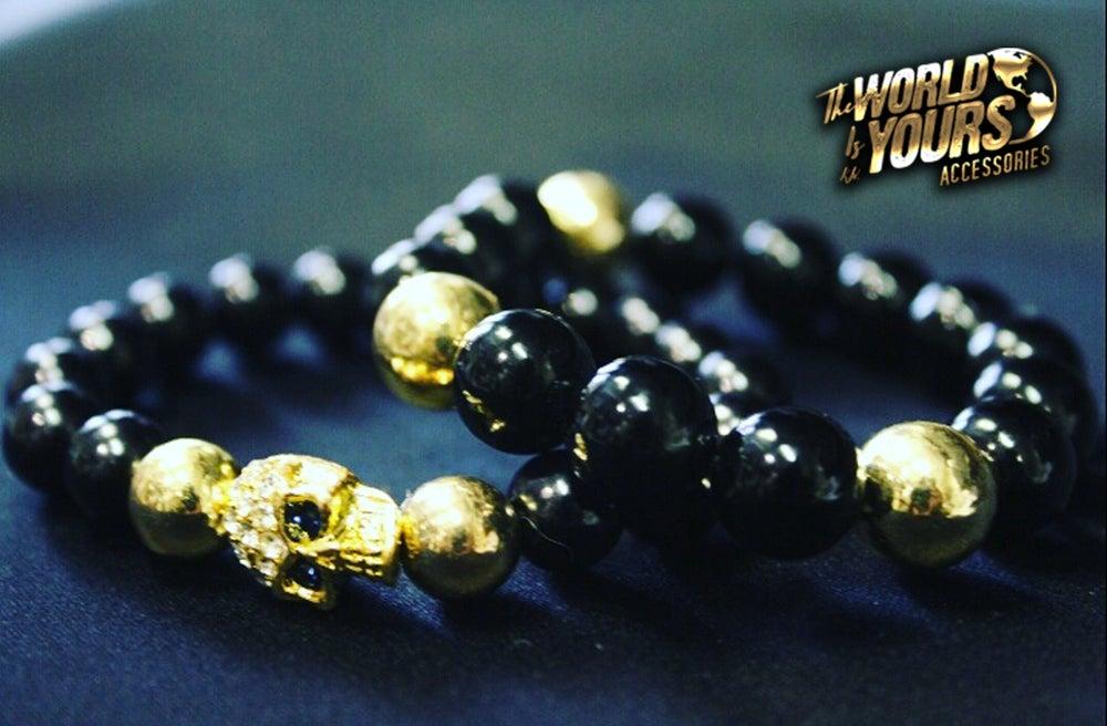 Image of TWIY APPAREL BLACK & GOLD SKULL PAIR