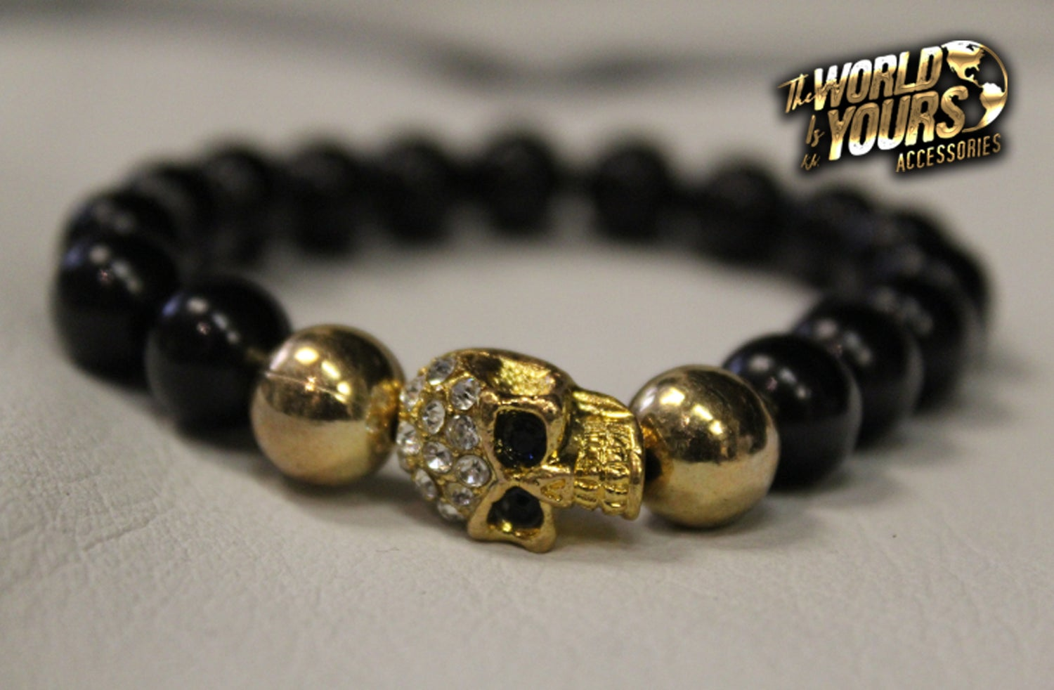 Image of TWIY APPAREL BLACK|GOLD|STUDDED SKULL BRACELET