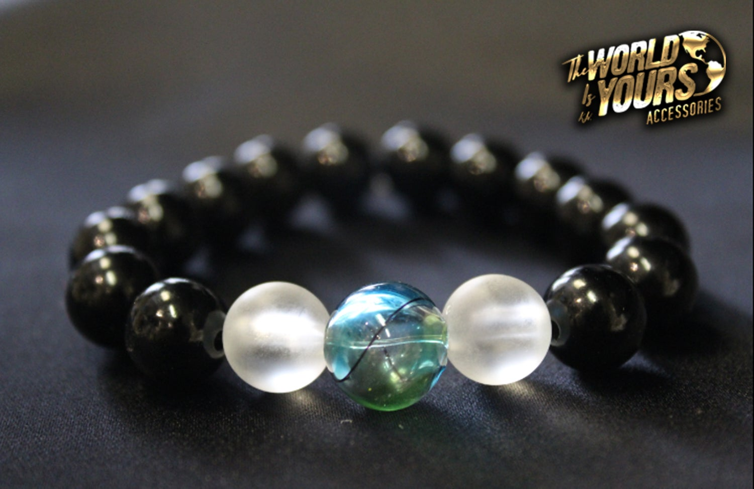 Image of TWIY APPAREL BLACK GLOBE BRACELET