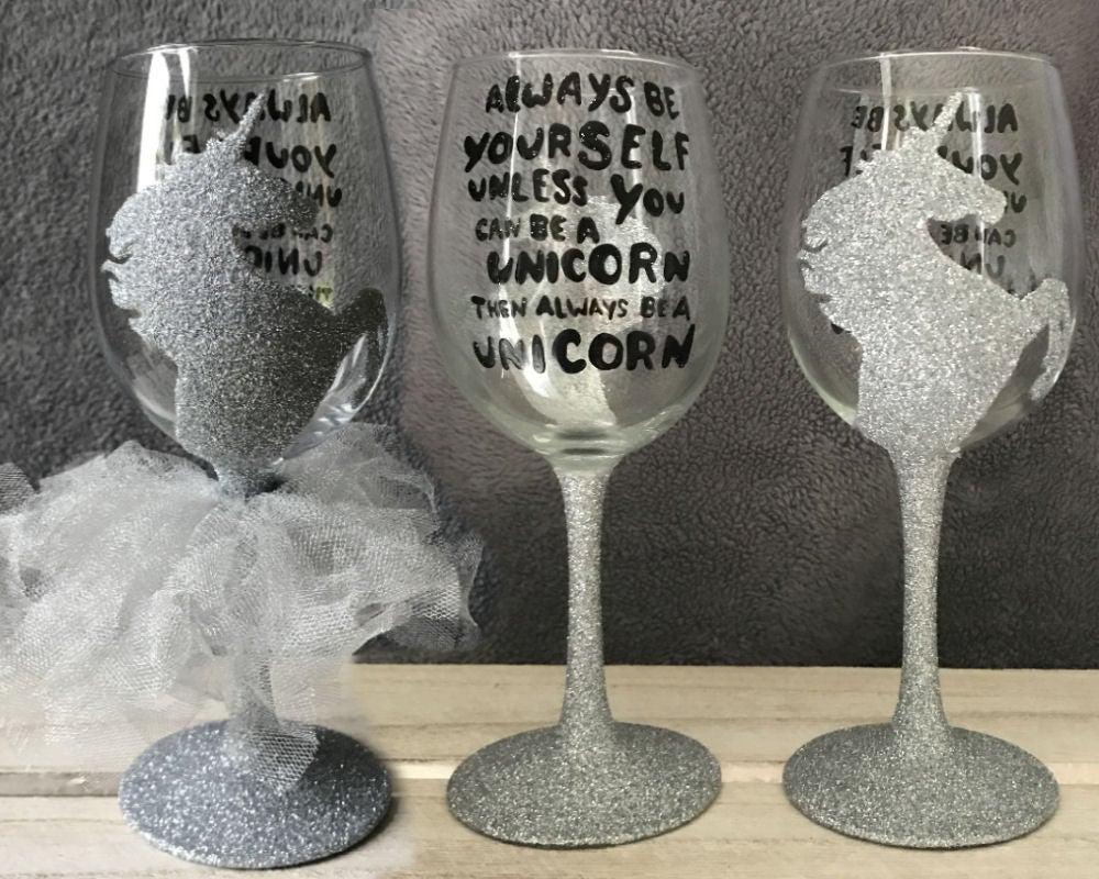 Mia Sorella Bespoke Designs 39 Unicorn 39 Quote Wine Glass